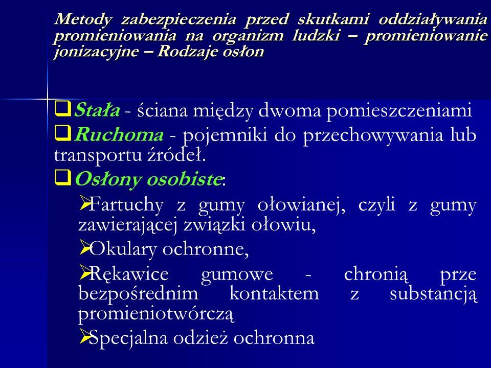 Metody zabezpieczenia przed skutkami oddziaływania promieniowania na organizm ludzki – promieniowanie jonizacyjne – Rodzaje osłon Stała - ściana międz