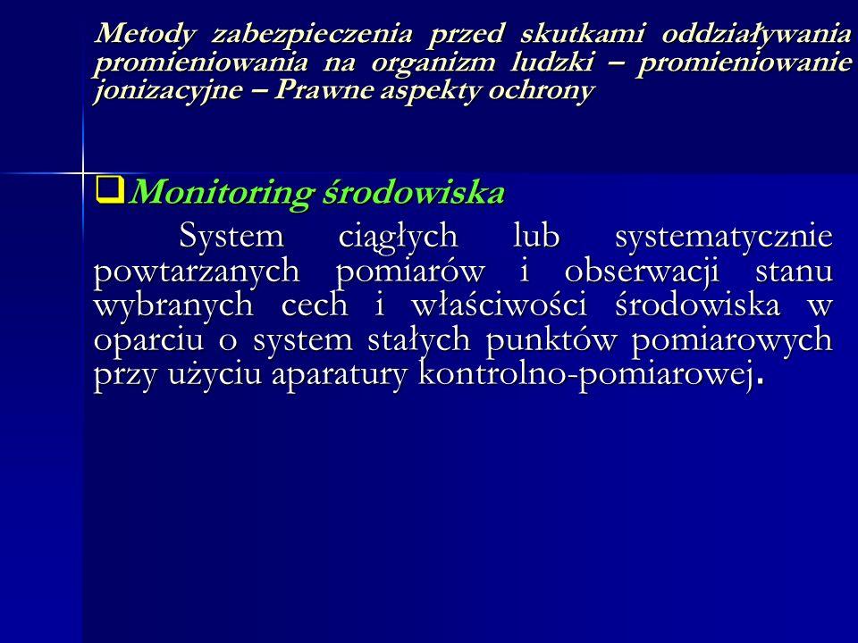 Metody zabezpieczenia przed skutkami oddziaływania promieniowania na organizm ludzki – promieniowanie jonizacyjne – Prawne aspekty ochrony Monitoring