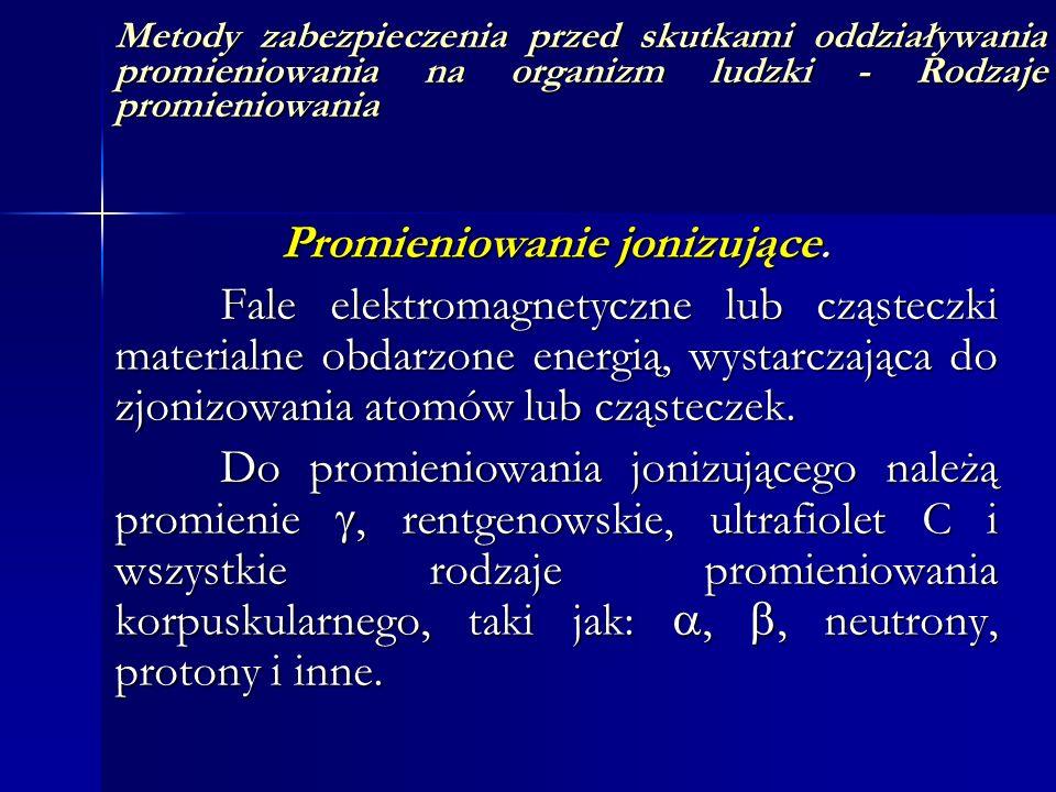 Metody zabezpieczenia przed skutkami oddziaływania promieniowania na organizm ludzki - Rodzaje promieniowania Promieniowanie jonizujące. Fale elektrom