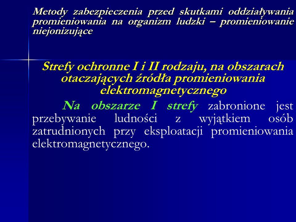 Metody zabezpieczenia przed skutkami oddziaływania promieniowania na organizm ludzki – promieniowanie niejonizujące Strefy ochronne I i II rodzaju, na