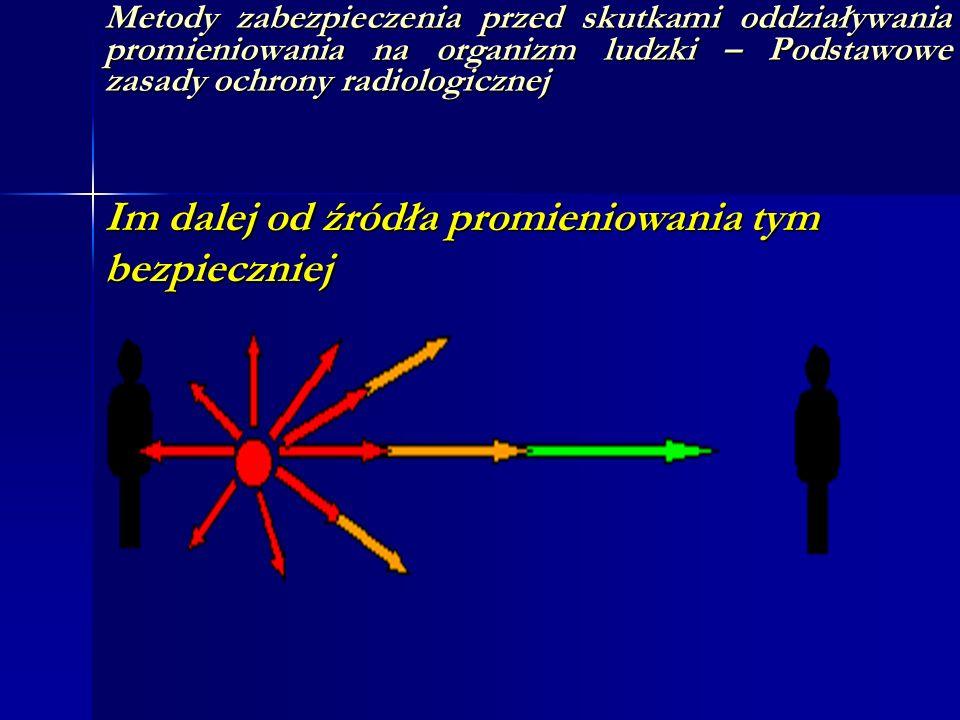 Metody zabezpieczenia przed skutkami oddziaływania promieniowania na organizm ludzki – Podstawowe zasady ochrony radiologicznej Im dalej od źródła pro