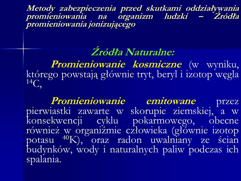 Metody zabezpieczenia przed skutkami oddziaływania promieniowania na organizm ludzki – Źródła promieniowania jonizującego Źródła Naturalne: Promieniow