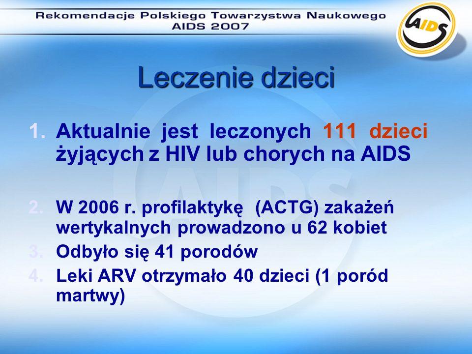 Program polityki zdrowotnej Leczenie antyretrowirusowe osób żyjących z HIV w Polsce W 2006 roku program leczenia ARV był realizowany w 15 szpitalach na bazie których działają ośrodki referencyjne leczące zakażonych HIV i chorych na AIDS w Polsce 12 szpitali realizowało Program ARV w pełnym zakresie Dwa szpitale realizowały Program tylko w zakresie postępowania poekspozycyjnego (Toruń i Opole) Instytut Matki i Dziecka w Warszawie prowadził badania przesiewowe w kierunku zakażenia HIV Dodatkowo są leczeni ARV pacjenci z zakładów penitencjarnych