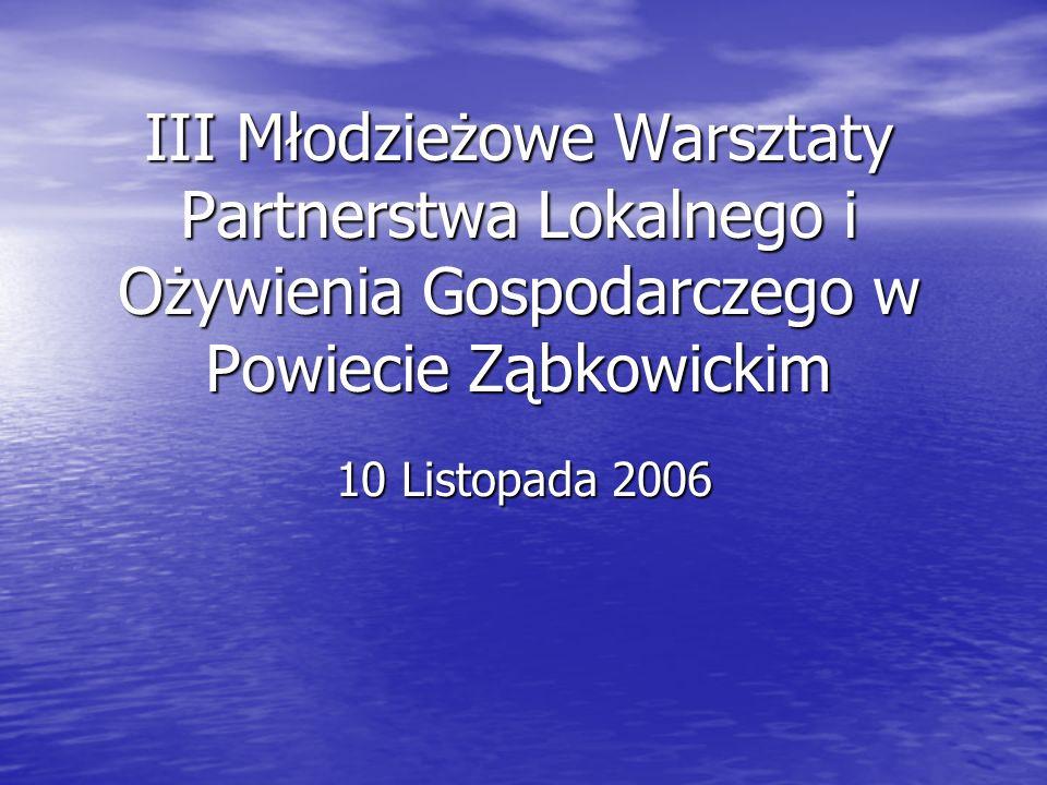 III Młodzieżowe Warsztaty Partnerstwa Lokalnego i Ożywienia Gospodarczego w Powiecie Ząbkowickim 10 Listopada 2006
