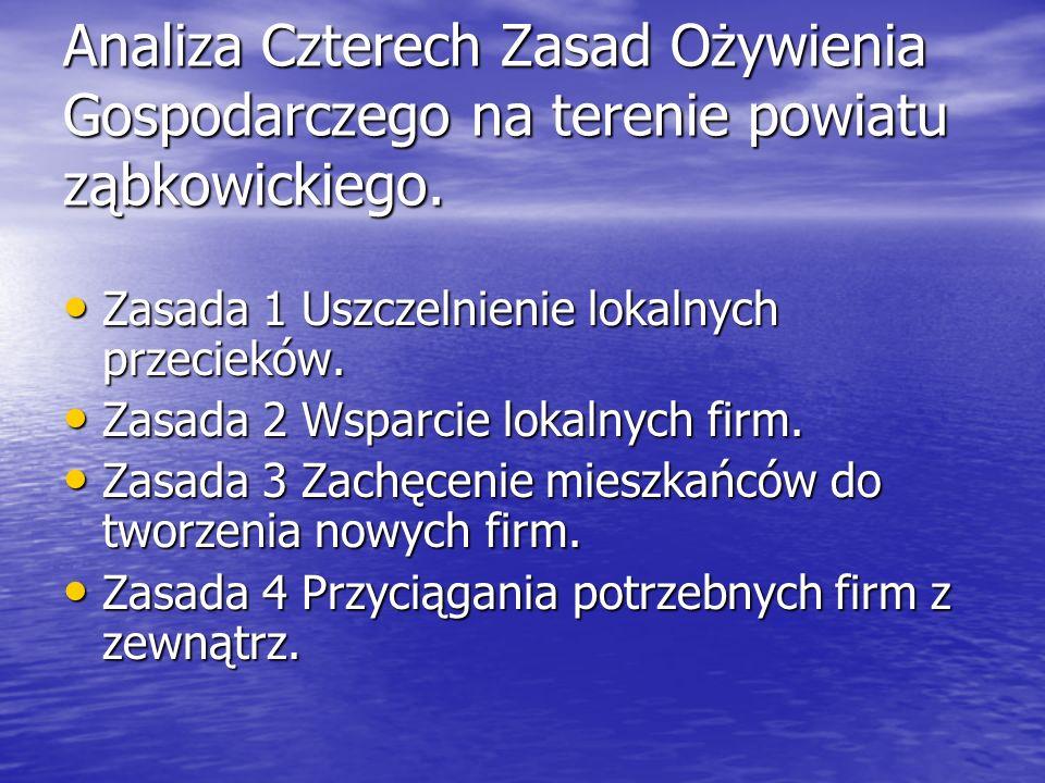 Analiza Czterech Zasad Ożywienia Gospodarczego na terenie powiatu ząbkowickiego. Zasada 1 Uszczelnienie lokalnych przecieków. Zasada 1 Uszczelnienie l