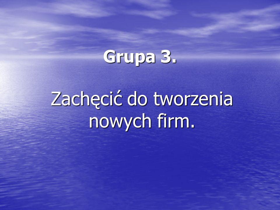 Grupa 3. Zachęcić do tworzenia nowych firm.