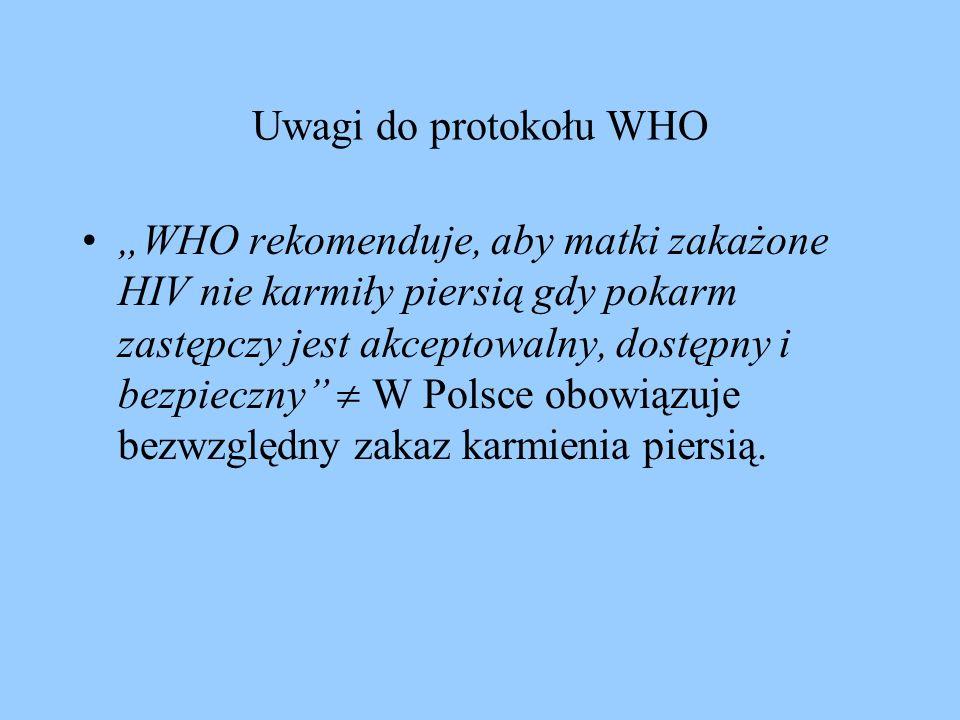 Uwagi do protokołu WHO WHO rekomenduje, aby matki zakażone HIV nie karmiły piersią gdy pokarm zastępczy jest akceptowalny, dostępny i bezpieczny W Pol