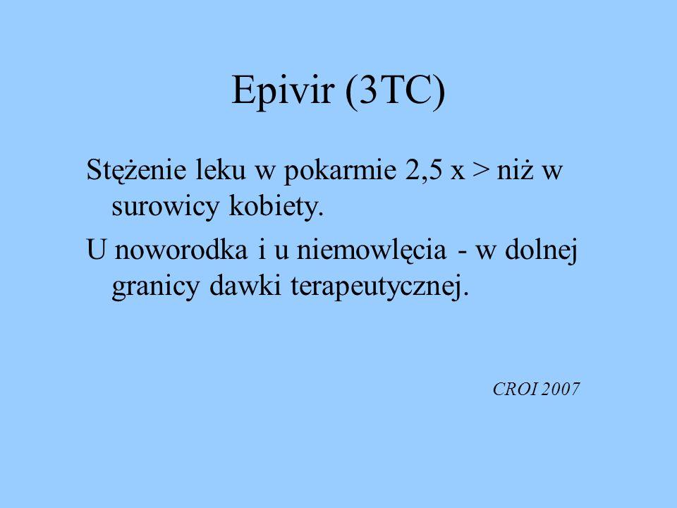 Epivir (3TC) Stężenie leku w pokarmie 2,5 x > niż w surowicy kobiety. U noworodka i u niemowlęcia - w dolnej granicy dawki terapeutycznej. CROI 2007