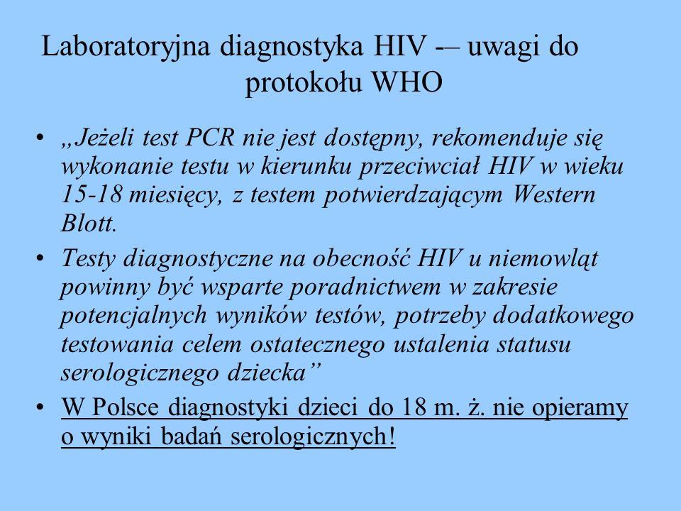 Jeżeli test PCR nie jest dostępny, rekomenduje się wykonanie testu w kierunku przeciwciał HIV w wieku 15-18 miesięcy, z testem potwierdzającym Western