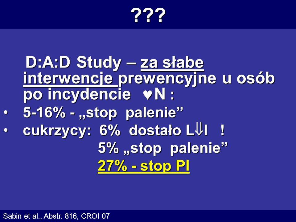 ??? D:A:D Study – za słabe interwencje prewencyjne u osób po incydencie N : D:A:D Study – za słabe interwencje prewencyjne u osób po incydencie N : 5-