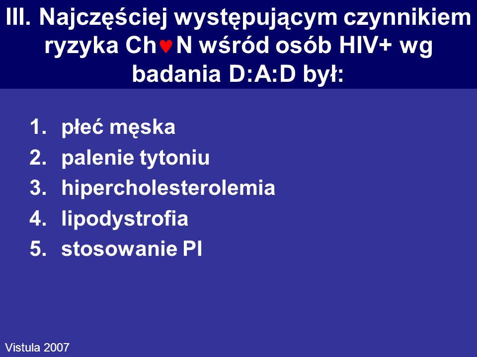 III. Najczęściej występującym czynnikiem ryzyka Ch N wśród osób HIV+ wg badania D:A:D był: 1.płeć męska 2.palenie tytoniu 3.hipercholesterolemia 4.lip
