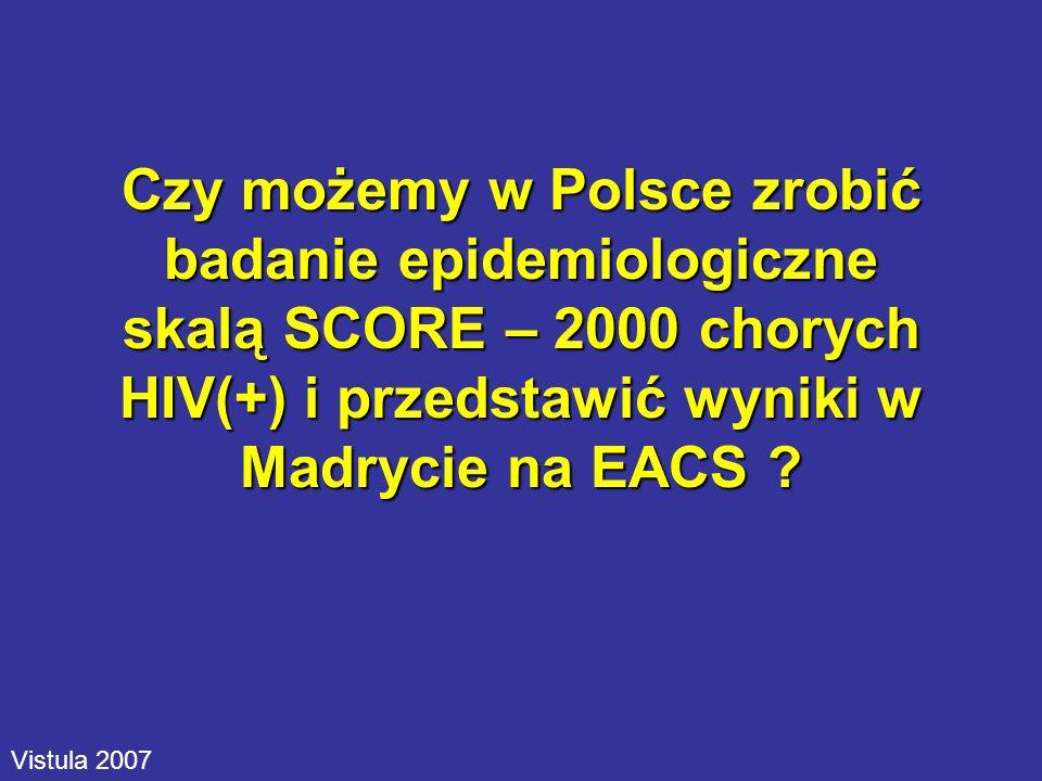 Czy możemy w Polsce zrobić badanie epidemiologiczne skalą SCORE – 2000 chorych HIV(+) i przedstawić wyniki w Madrycie na EACS ? Vistula 2007