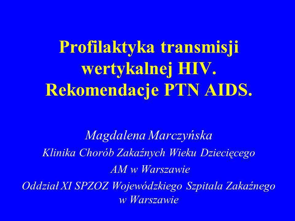 Profilaktyka transmisji wertykalnej HIV. Rekomendacje PTN AIDS. Magdalena Marczyńska Klinika Chorób Zakaźnych Wieku Dziecięcego AM w Warszawie Oddział