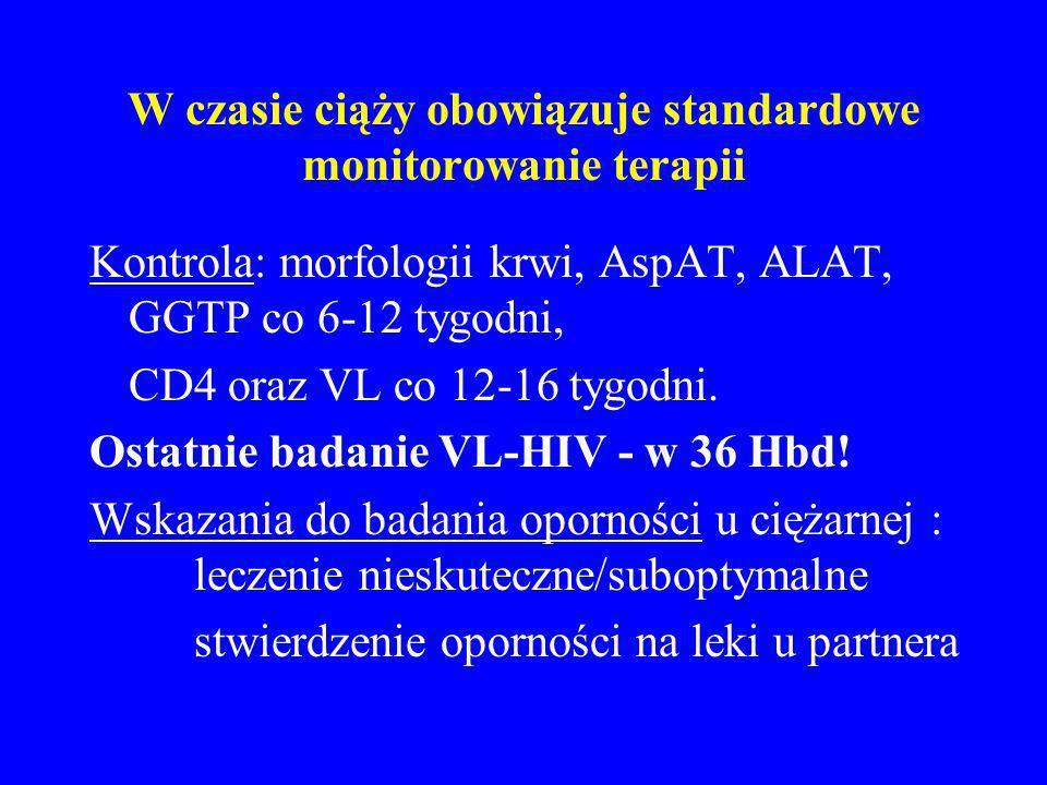 W czasie ciąży obowiązuje standardowe monitorowanie terapii Kontrola: morfologii krwi, AspAT, ALAT, GGTP co 6-12 tygodni, CD4 oraz VL co 12-16 tygodni