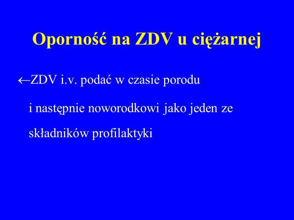 Oporność na ZDV u ciężarnej ZDV i.v. podać w czasie porodu i następnie noworodkowi jako jeden ze składników profilaktyki