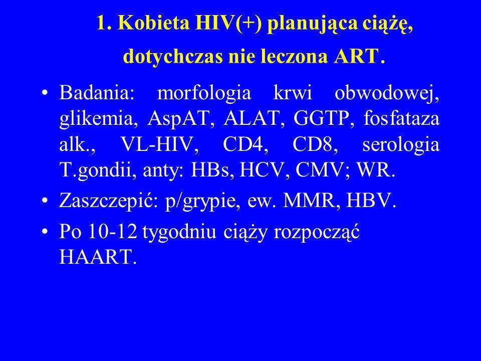 1. Kobieta HIV(+) planująca ciążę, dotychczas nie leczona ART. Badania: morfologia krwi obwodowej, glikemia, AspAT, ALAT, GGTP, fosfataza alk., VL-HIV