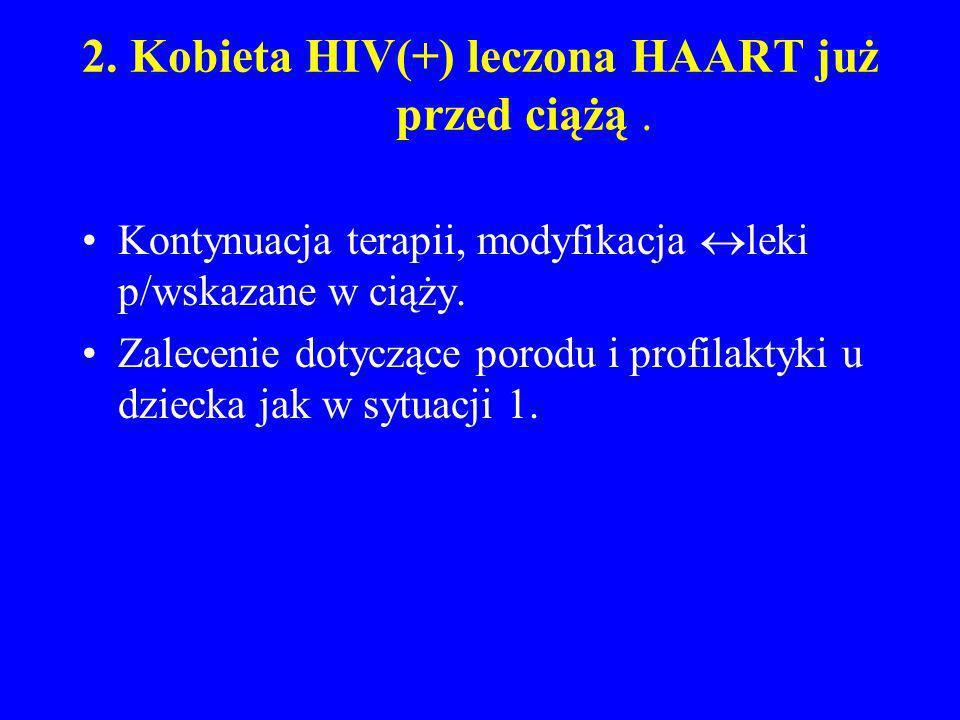 2. Kobieta HIV(+) leczona HAART już przed ciążą. Kontynuacja terapii, modyfikacja leki p/wskazane w ciąży. Zalecenie dotyczące porodu i profilaktyki u