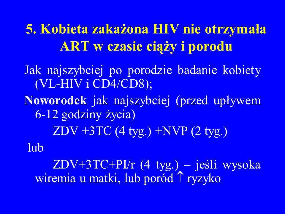 5. Kobieta zakażona HIV nie otrzymała ART w czasie ciąży i porodu Jak najszybciej po porodzie badanie kobiety (VL-HIV i CD4/CD8); Noworodek jak najszy