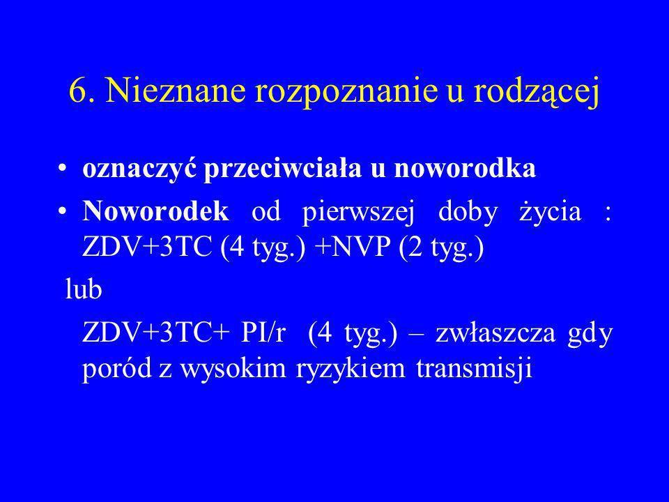 6. Nieznane rozpoznanie u rodzącej oznaczyć przeciwciała u noworodka Noworodek od pierwszej doby życia : ZDV+3TC (4 tyg.) +NVP (2 tyg.) lub ZDV+3TC+ P