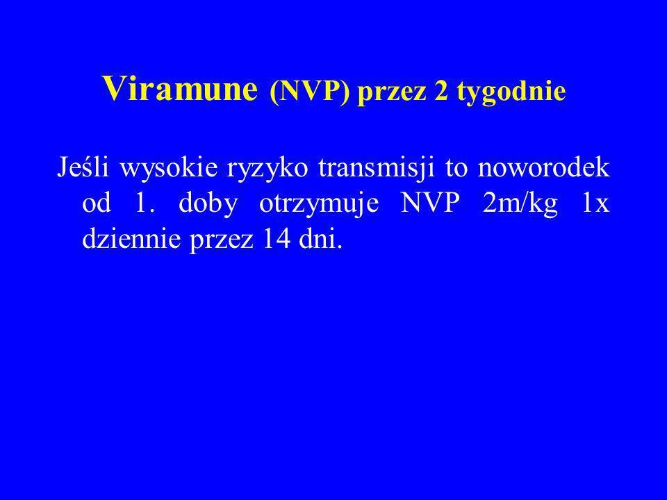 Viramune (NVP) przez 2 tygodnie Jeśli wysokie ryzyko transmisji to noworodek od 1. doby otrzymuje NVP 2m/kg 1x dziennie przez 14 dni.