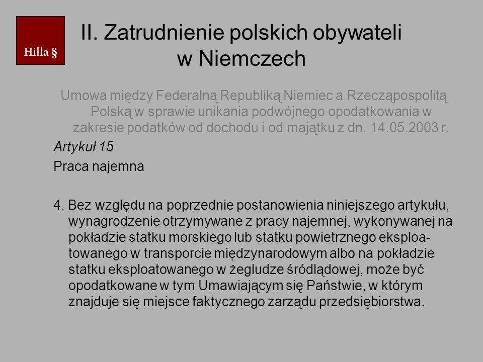 II. Zatrudnienie polskich obywateli w Niemczech Umowa między Federalną Republiką Niemiec a Rzecząpospolitą Polską w sprawie unikania podwójnego opodat