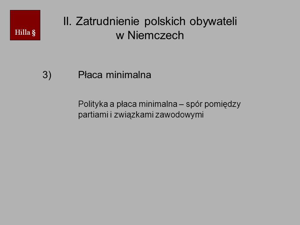 II. Zatrudnienie polskich obywateli w Niemczech 3)Płaca minimalna Polityka a płaca minimalna – spór pomiędzy partiami i związkami zawodowymi Hilla §