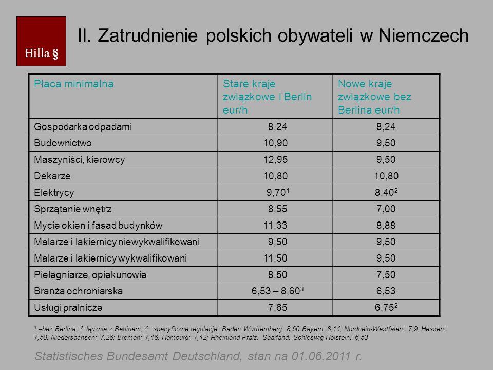 II. Zatrudnienie polskich obywateli w Niemczech Hilla § Płaca minimalnaStare kraje związkowe i Berlin eur/h Nowe kraje związkowe bez Berlina eur/h Gos