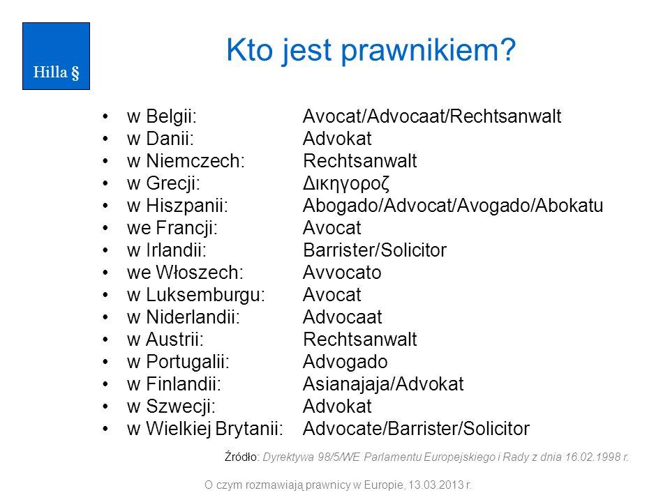 Kto jest prawnikiem? w Belgii: Avocat/Advocaat/Rechtsanwalt w Danii: Advokat w Niemczech: Rechtsanwalt w Grecji:Δικηγοροζ w Hiszpanii: Abogado/Advocat