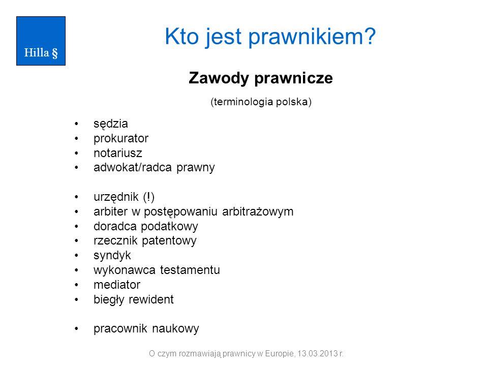 Zawody prawnicze (terminologia polska) sędzia prokurator notariusz adwokat/radca prawny urzędnik (!) arbiter w postępowaniu arbitrażowym doradca podat