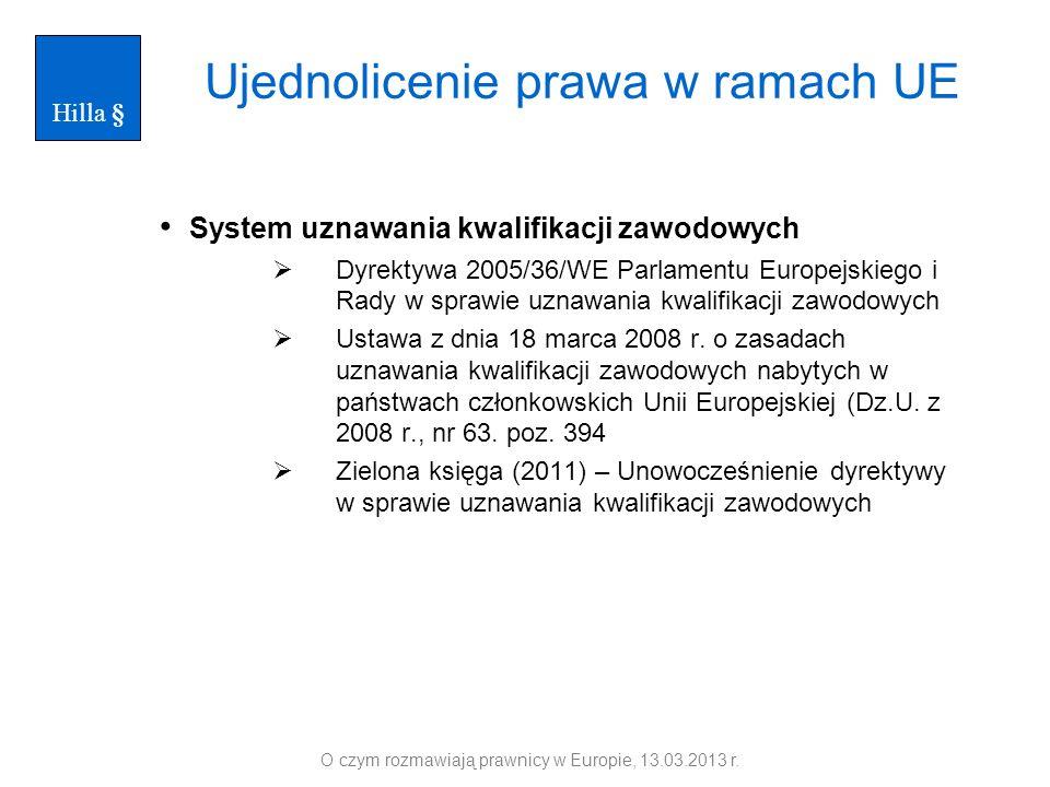 Ujednolicenie prawa w ramach UE System uznawania kwalifikacji zawodowych Dyrektywa 2005/36/WE Parlamentu Europejskiego i Rady w sprawie uznawania kwal
