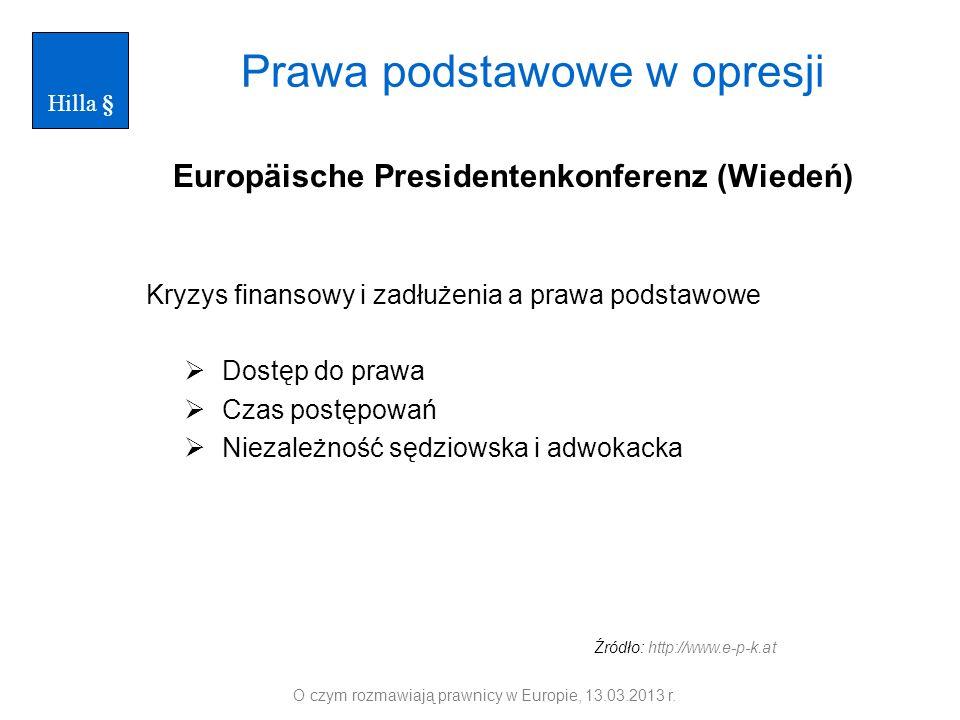 Prawa podstawowe w opresji Europäische Presidentenkonferenz (Wiedeń) Kryzys finansowy i zadłużenia a prawa podstawowe Dostęp do prawa Czas postępowań