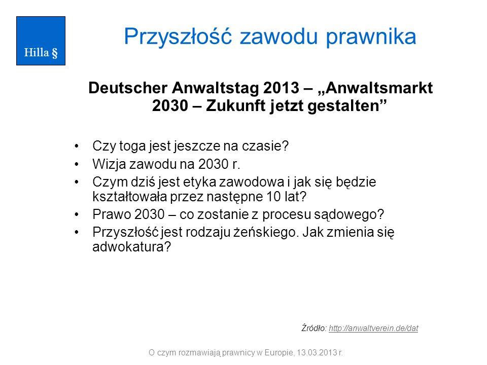 Przyszłość zawodu prawnika Deutscher Anwaltstag 2013 – Anwaltsmarkt 2030 – Zukunft jetzt gestalten Czy toga jest jeszcze na czasie? Wizja zawodu na 20