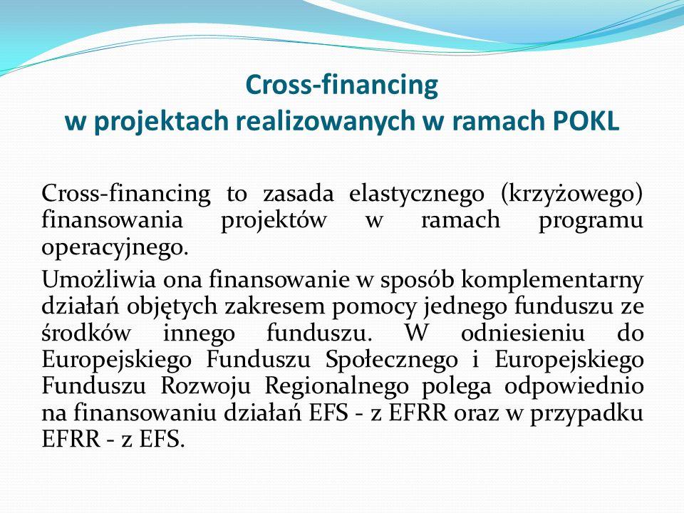 Cross-financing w projektach realizowanych w ramach POKL Cross-financing to zasada elastycznego (krzyżowego) finansowania projektów w ramach programu