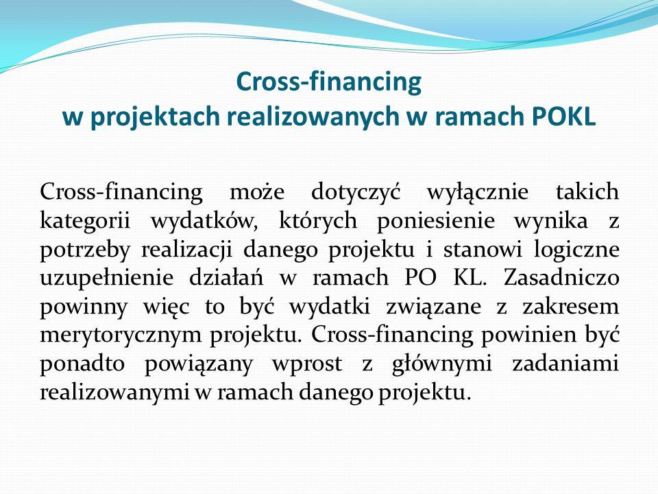 Cross-financing w projektach realizowanych w ramach POKL Cross-financing może dotyczyć wyłącznie takich kategorii wydatków, których poniesienie wynika