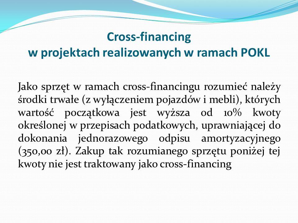 Cross-financing w projektach realizowanych w ramach POKL Jako sprzęt w ramach cross-financingu rozumieć należy środki trwałe (z wyłączeniem pojazdów i