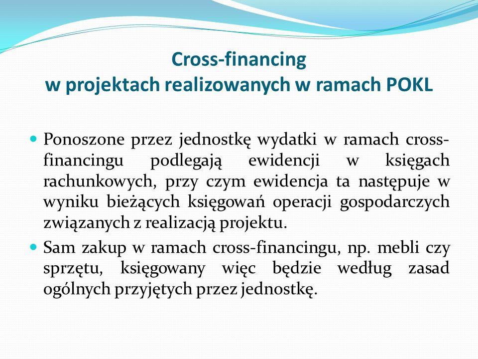 Cross-financing w projektach realizowanych w ramach POKL Ponoszone przez jednostkę wydatki w ramach cross- financingu podlegają ewidencji w księgach r