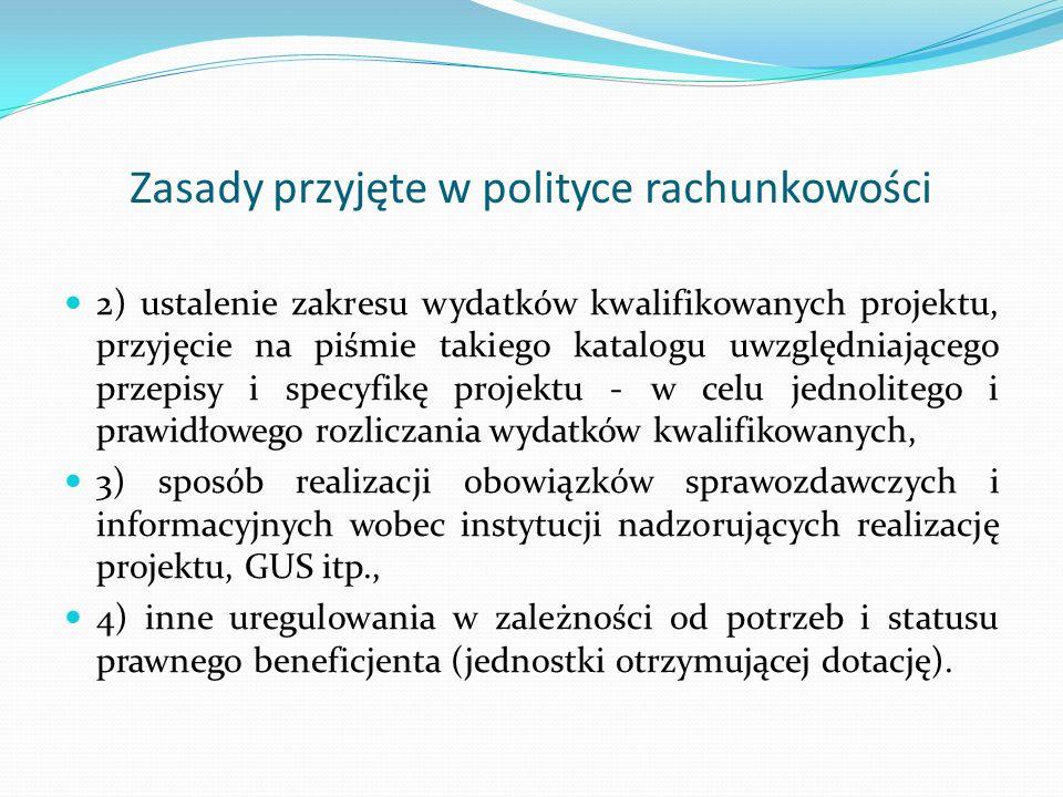 Zasady przyjęte w polityce rachunkowości 2) ustalenie zakresu wydatków kwalifikowanych projektu, przyjęcie na piśmie takiego katalogu uwzględniającego