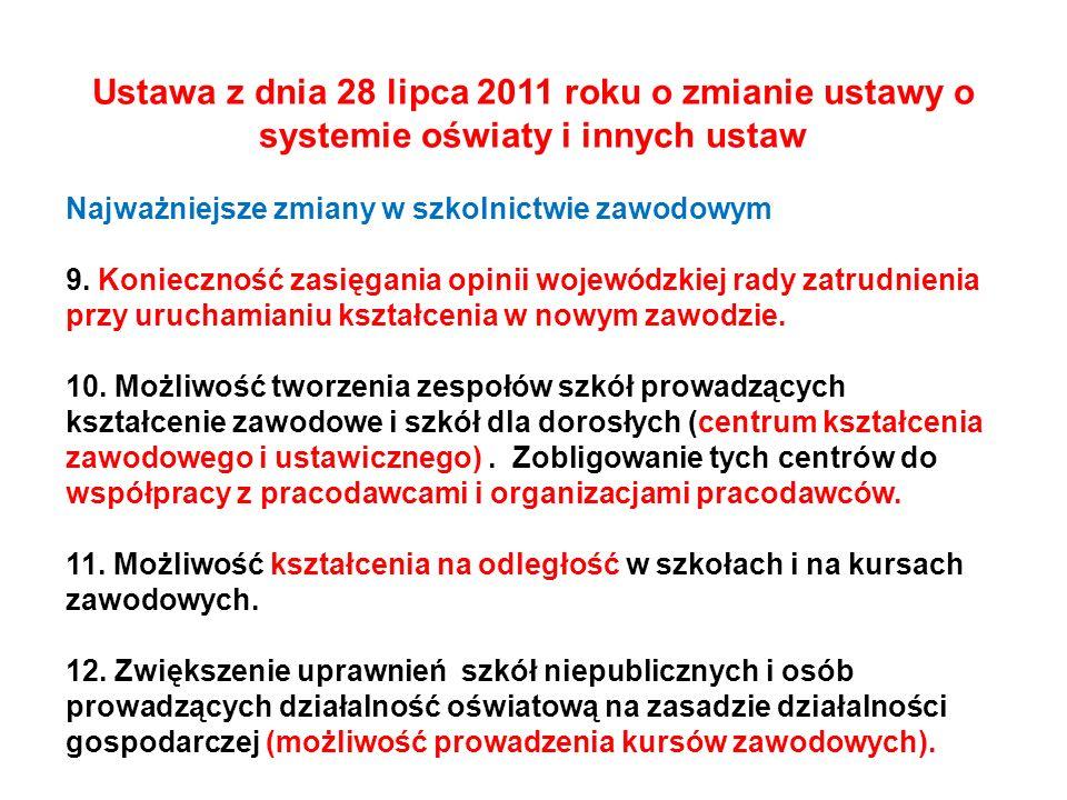 Ustawa z dnia 28 lipca 2011 roku o zmianie ustawy o systemie oświaty i innych ustaw Najważniejsze zmiany w szkolnictwie zawodowym 9. Konieczność zasię