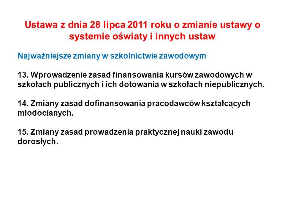 Ustawa z dnia 28 lipca 2011 roku o zmianie ustawy o systemie oświaty i innych ustaw Najważniejsze zmiany w szkolnictwie zawodowym 13. Wprowadzenie zas