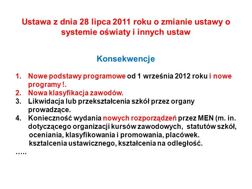 Ustawa z dnia 28 lipca 2011 roku o zmianie ustawy o systemie oświaty i innych ustaw Konsekwencje 1.Nowe podstawy programowe od 1 września 2012 roku i