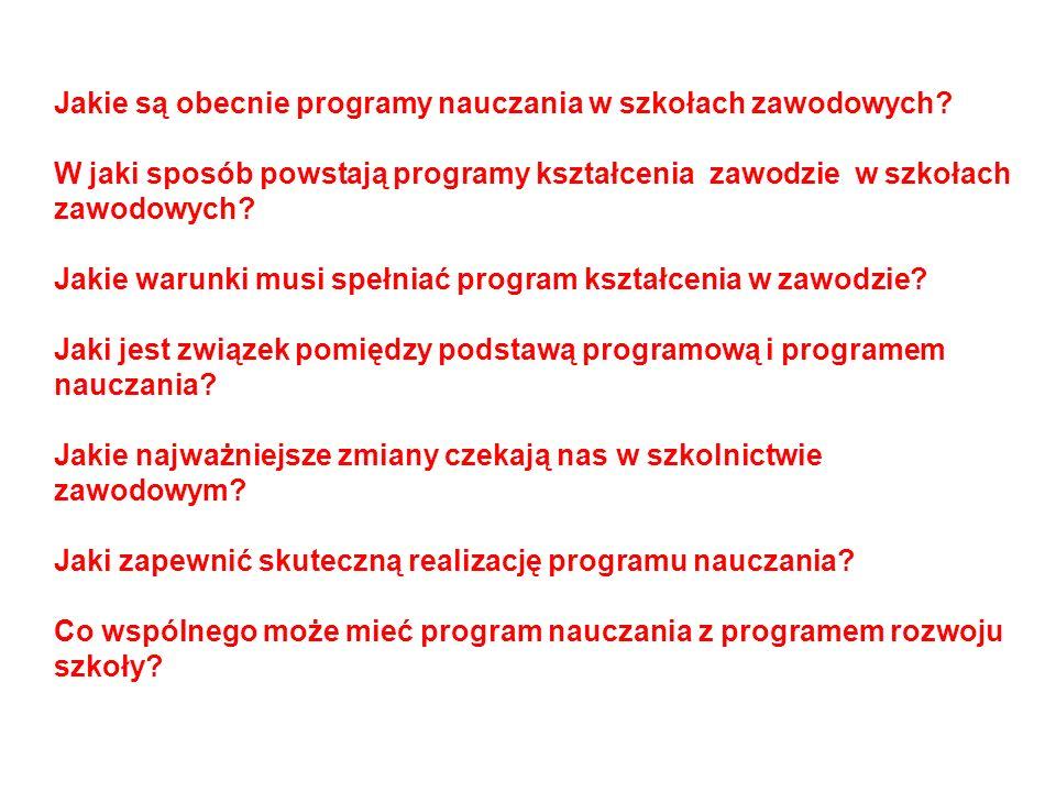Jakie są obecnie programy nauczania w szkołach zawodowych? W jaki sposób powstają programy kształcenia zawodzie w szkołach zawodowych? Jakie warunki m