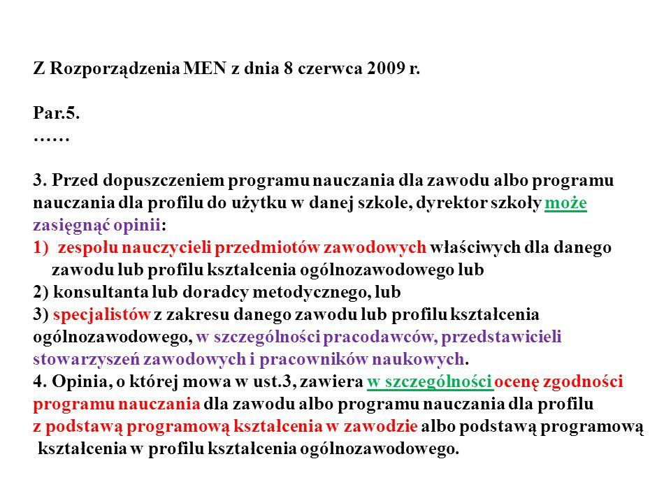 Z Rozporządzenia MEN z dnia 8 czerwca 2009 r. Par.5. …… 3. Przed dopuszczeniem programu nauczania dla zawodu albo programu nauczania dla profilu do uż