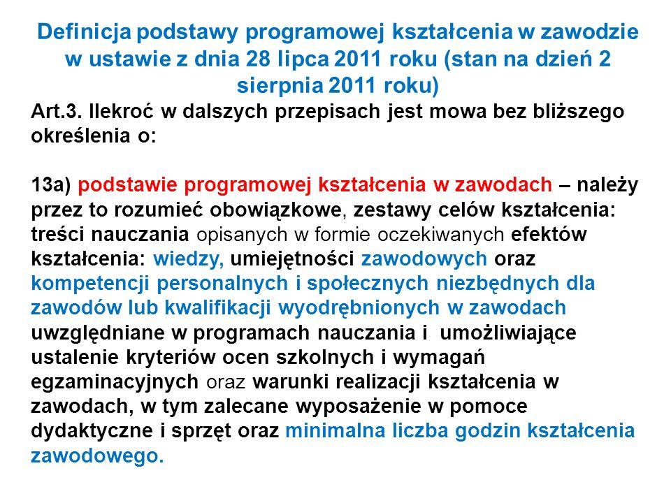 Definicja podstawy programowej kształcenia w zawodzie w ustawie z dnia 28 lipca 2011 roku (stan na dzień 2 sierpnia 2011 roku) Art.3. Ilekroć w dalszy