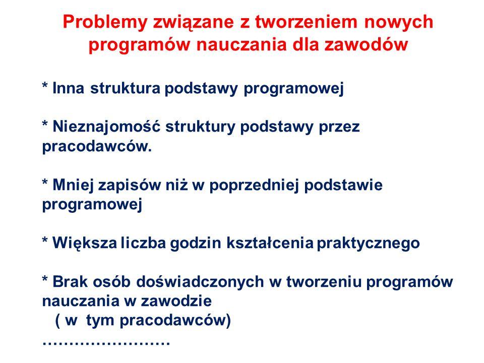 Problemy związane z tworzeniem nowych programów nauczania dla zawodów * Inna struktura podstawy programowej * Nieznajomość struktury podstawy przez pr