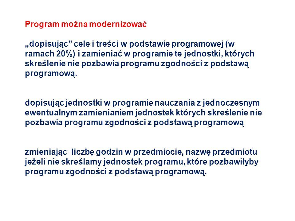 Program można modernizować dopisując cele i treści w podstawie programowej (w ramach 20%) i zamieniać w programie te jednostki, których skreślenie nie