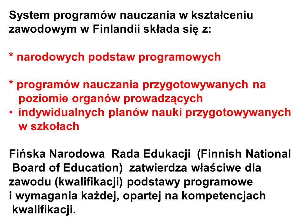 System programów nauczania w kształceniu zawodowym w Finlandii składa się z: * narodowych podstaw programowych * programów nauczania przygotowywanych