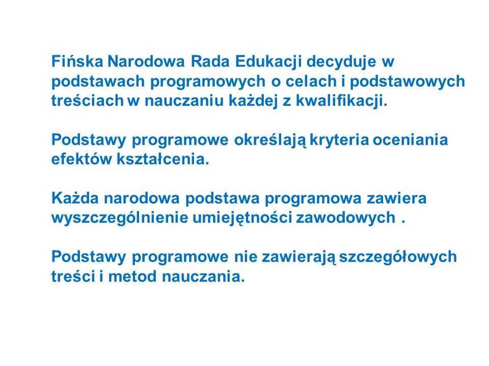 Fińska Narodowa Rada Edukacji decyduje w podstawach programowych o celach i podstawowych treściach w nauczaniu każdej z kwalifikacji. Podstawy program