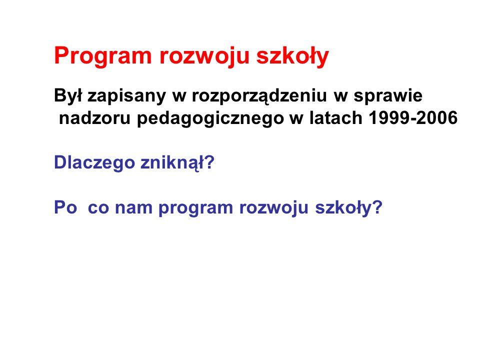 Program rozwoju szkoły Był zapisany w rozporządzeniu w sprawie nadzoru pedagogicznego w latach 1999-2006 Dlaczego zniknął? Po co nam program rozwoju s