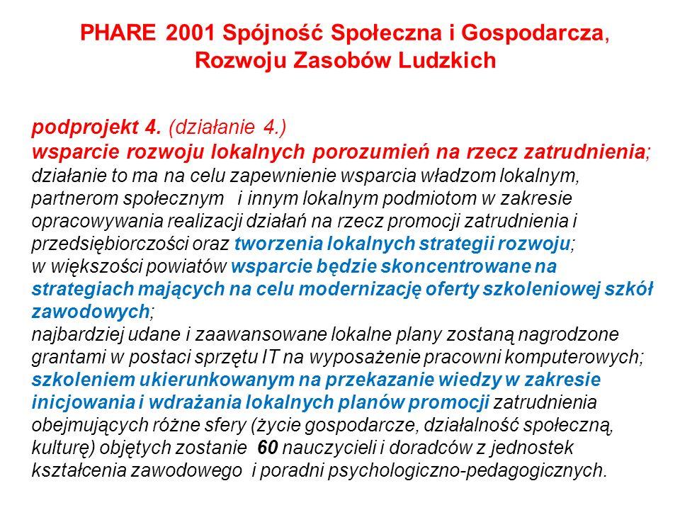 PHARE 2001 Spójność Społeczna i Gospodarcza, Rozwoju Zasobów Ludzkich podprojekt 4. (działanie 4.) wsparcie rozwoju lokalnych porozumień na rzecz zatr