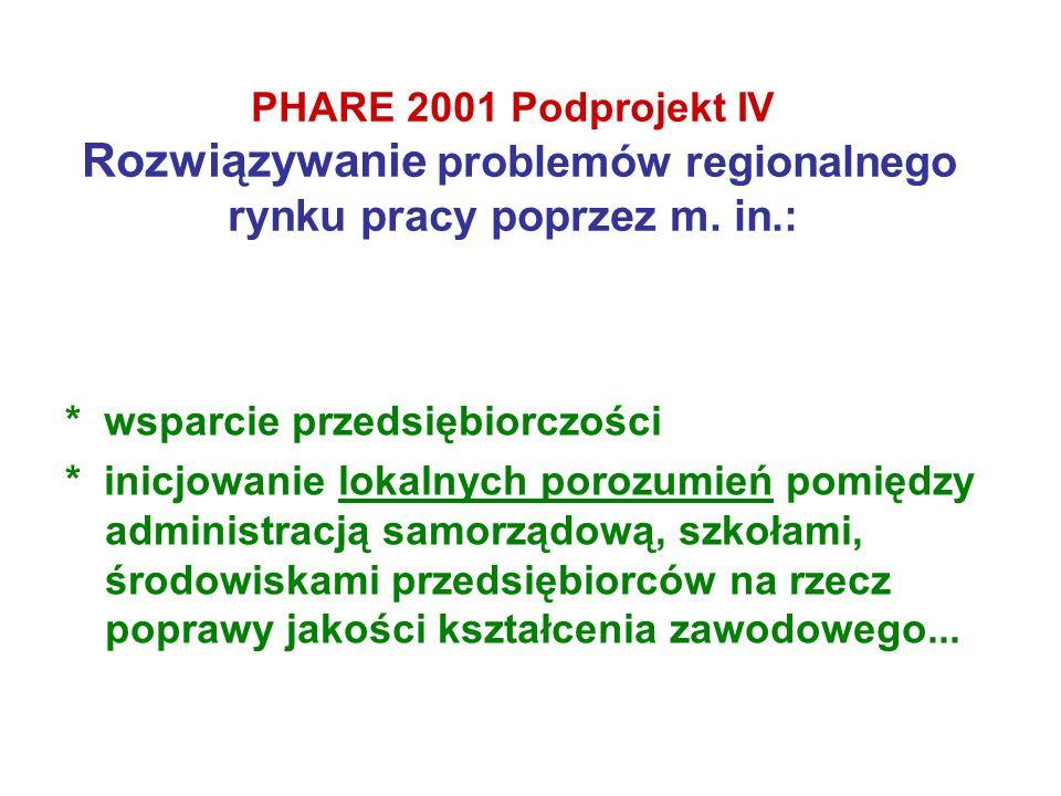 PHARE 2001 Podprojekt IV Rozwiązywanie problemów regionalnego rynku pracy poprzez m. in.: * wsparcie przedsiębiorczości * inicjowanie lokalnych porozu